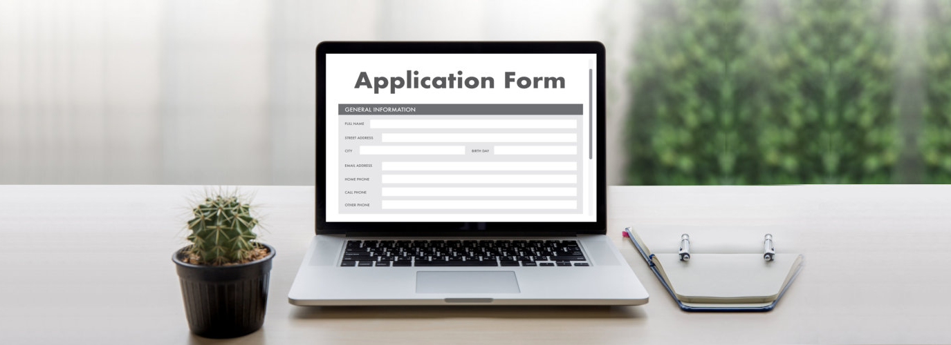 application form prompted on the laptop screen